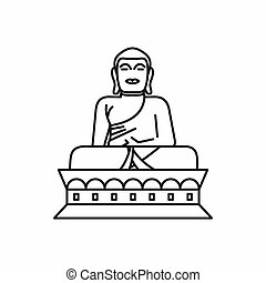 Buddha statue icon, outline style - Buddha statue icon in...