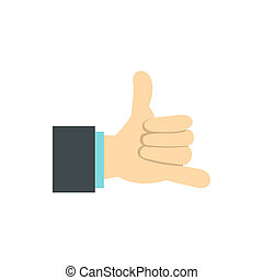 Gesture surfing icon, flat style - Gesture surfing icon in...