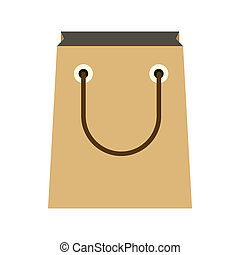 Paper shopping bag icon, flat style - Paper shopping bag...