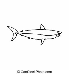 Shark icon, outline style - Shark icon in outline style...