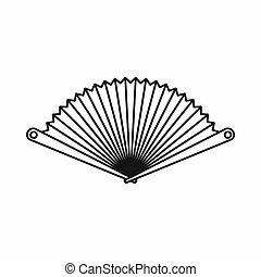 Opened oriental fan icon, outline style - Opened oriental...
