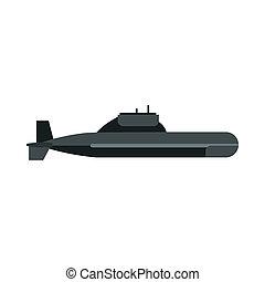 Submarino, estilo, icono, plano