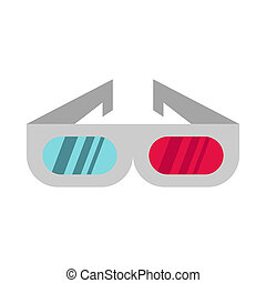 3D cinema glasses icon, flat style - icon in flat style on a...