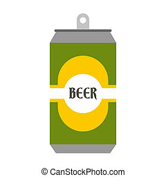 Beer can with beer label icon, flat style - Beer can with...
