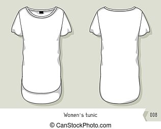 Women tunic. Template for design, easily editable by layers.
