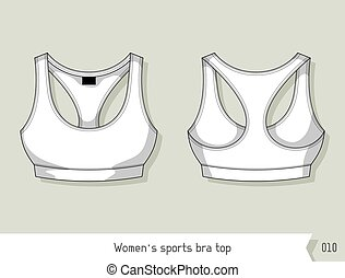 Women sports bra top. Template for design, easily editable by layers