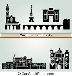 Cordoba landmarks and monuments isolated on blue background...