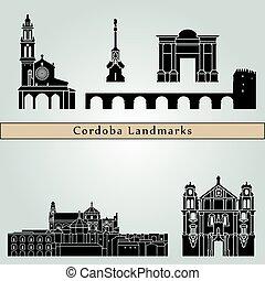 Cordoba landmarks and monuments isolated on blue background...
