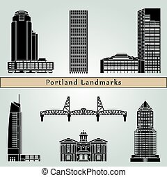 Portland landmarks and monuments isolated on blue background...