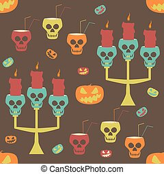 Halloween party seamless pattern with evil pumpkins and skulls