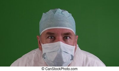 Medical Worker on green screen