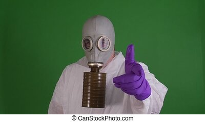 Man in gas mask - man in gas mask on green screen