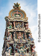 Hinduism statue of Sri Mariamman temple in Singapore -...