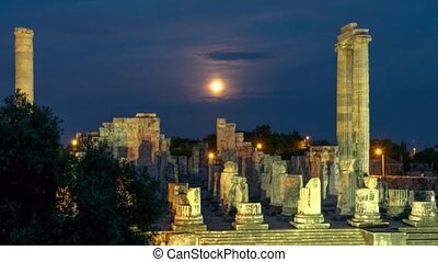 Ruins of the largest in the world Apollo temple with...