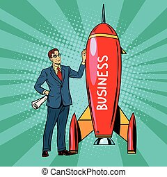 Business start up rocket, pop art retro vector illustration