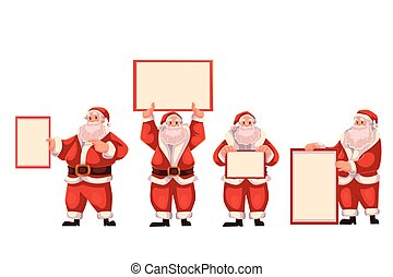 Set of Santa Claus holding a blank board