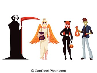 People dresses in death, monster, angel and cat Halloween costumes