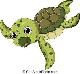 Cute sea turtle cartoon - illustration of Cute sea turtle...