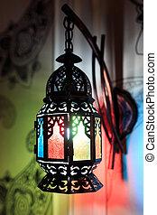 壁, ランプ, 東洋人