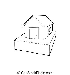 Flooded house icon, outline style - icon in outline style on...