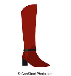 Female red fashion boots icon, flat style