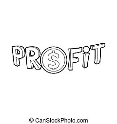 Profit word with a dollar sign icon, outline style - icon in...