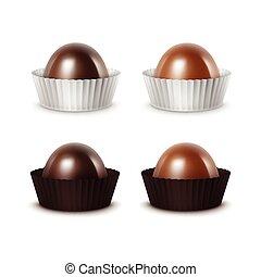 Set of Dark Bitter Milk Chocolate in Papper - Vector Set of...