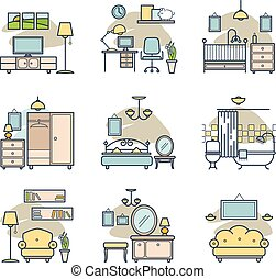 Home room icons set. - Home room icons set for your design