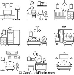 Home room icons set. Interior design room types. Living...