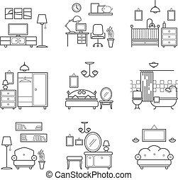 Clip Art Vector Of Living Room Bedroom Kitchen Kids Bathroom