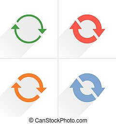 Color arrow refresh, reset, repeat icon on white - 4 arrow...