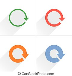 Color arrow rotation, reset, repeat icon on white - 4 arrow...