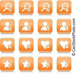 Orange additional sign square icon web button - 16...