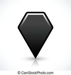 Black blank map pin sign hexagon location icon