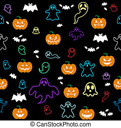 Seamless Halloween ghost, bats, pum - Vector seamless...