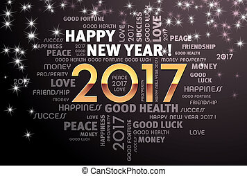 2017 Greeting card - Greeting words around 2017 year type in...