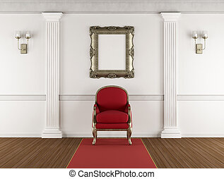 White classic interior with red armchair