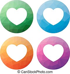 Set  of 4 isolated modern low polygonal buttons - icons - for heart - like, favourite,