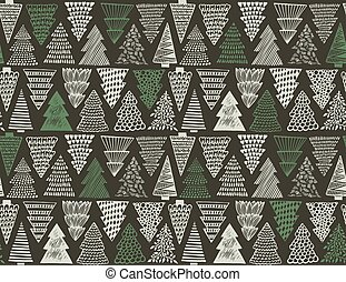 Seamless pattern with ornate Christmas trees.