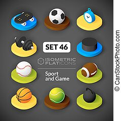 Isometric flat icons set 46 - Isometric flat icons, 3D...
