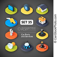 Isometric flat icons set 35 - Isometric flat icons, 3D...