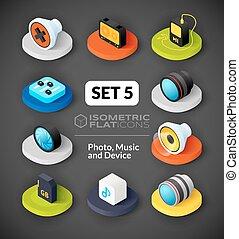 Isometric flat icons set 5