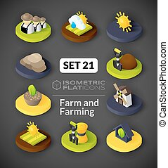Isometric flat icons set 21 - Isometric flat icons, 3D...
