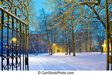 winter park with gateway by night in the winter