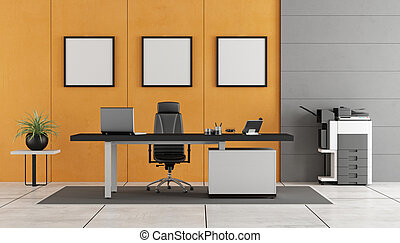 Gray and orange modern office with concrete wall ,desk and...