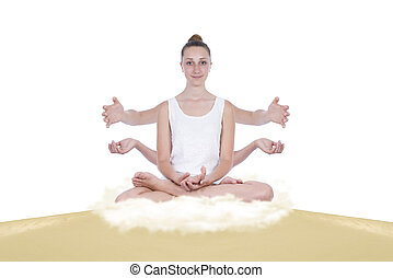 Multitasking girl in yoga positions on a sand dune, below...