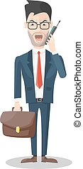 Angry Businessman With Mobile Phone - Angry businessman with...