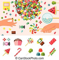 Sweet Candy Flat Composition - Colored sweet candy flat...