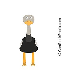 Funny ostrich character - Ostrich illustration as a funny...