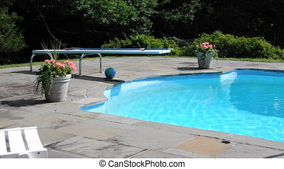 swimming pool diving board - private estate swimming pool...